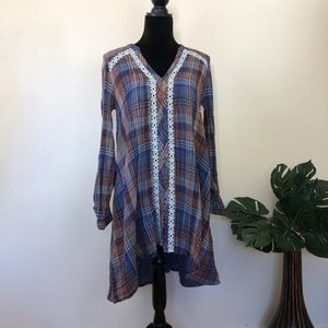 Anthropologie Holding horses plaid high low dress